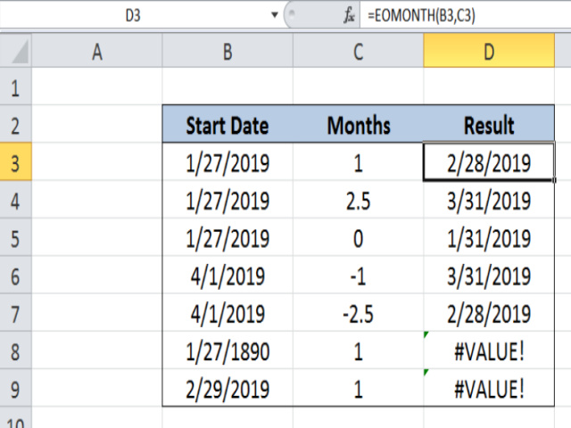 Cách sử dụng hàm Eomonth trong Excel