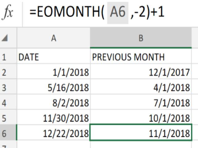 Tìm ngày đầu tiên của tháng bằng Eomonth